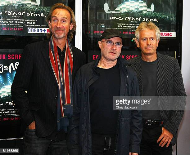 Members of the band Genesis Mike Rutherford Phil Collins and Tony Banks reunite for the DVD Premiere at Kensington Odeon on May 20 2008 in London...