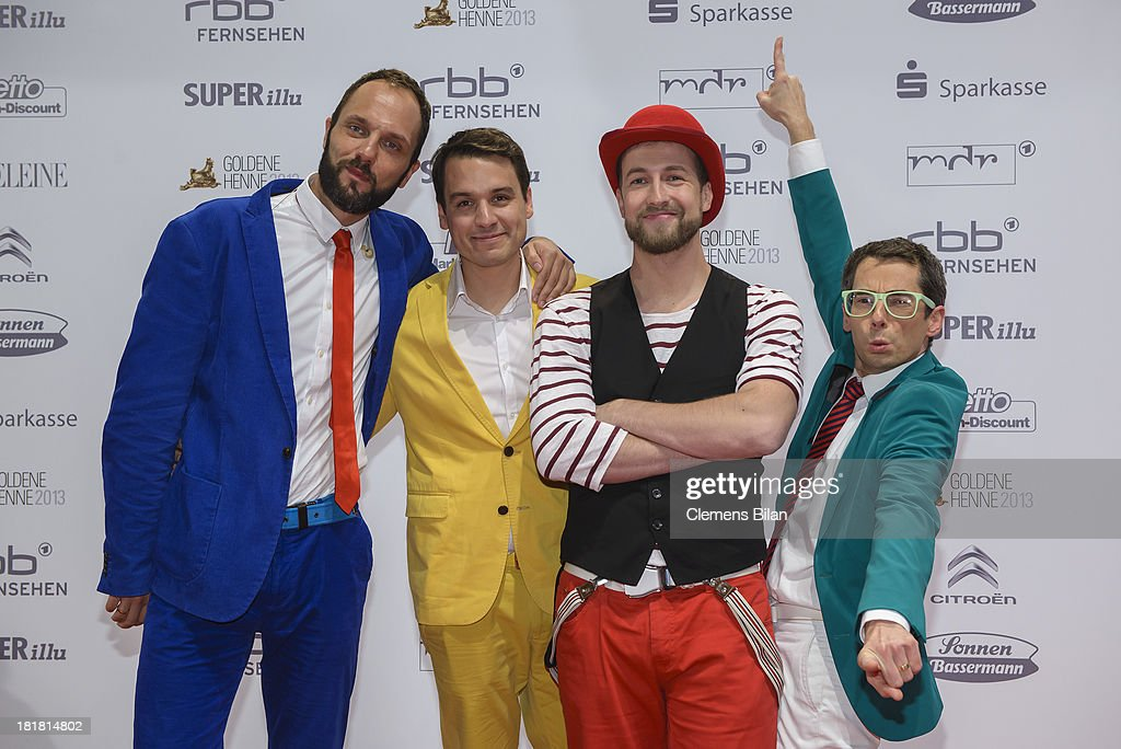 Members of the band Maybe Bob arrive for the Goldene Henne 2013 award at Stage Theater on September 25, 2013 in Berlin, Germany.