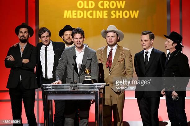 Members of the band Old Crow Medicine Show speak onstage during The 57th Annual GRAMMY Awards premiere ceremony at STAPLES Center on February 8 2015...