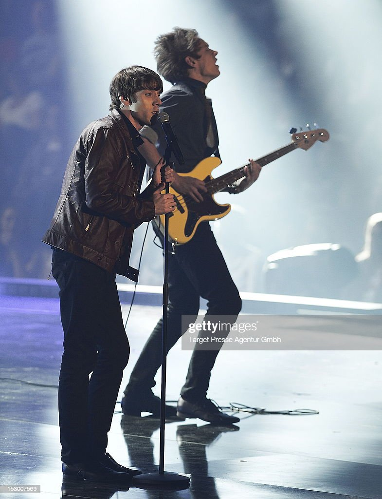 Members of the band 'Pickers' perform during the 'Bundesvision Song Contest 2012' at the Max-Schmeling-Halle on September 28, 2012 in Berlin, Germany.