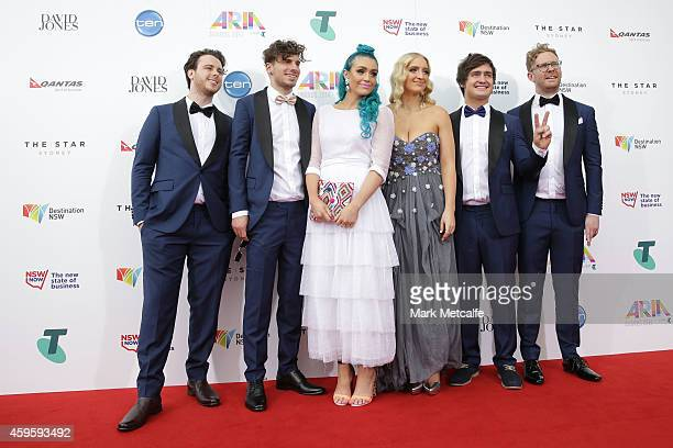 Members of the band Sheppard arrive at the 28th Annual ARIA Awards 2014 at the Star on November 26 2014 in Sydney Australia