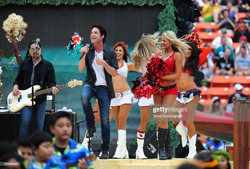Members of the band Train performs before the 2013 Pro Bowl at Aloha Stadium on January 27, 2013 in Honolulu, Hawaii