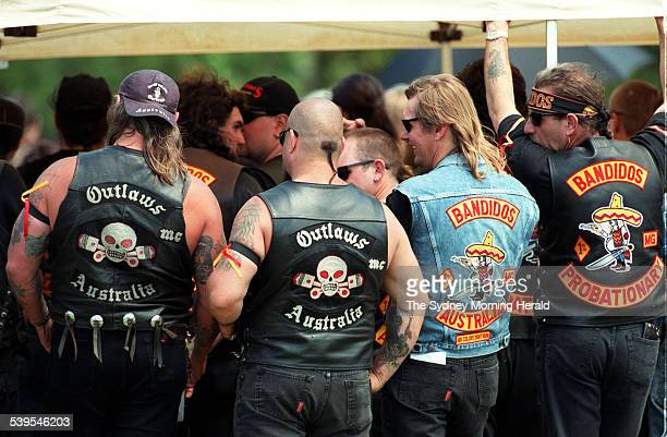 Members of the Bandidos biker gang attend the funeral of fellow member Sasha Milenkovic at Rookwood Cemetery who was killed during a shootout at the...