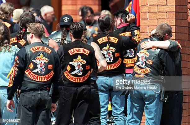 Members of the Bandidos biker gang attend the funeral of fellow member Sasha Milenkovic at the Serbioan Orthodox Church in Cabramatta who was killed...