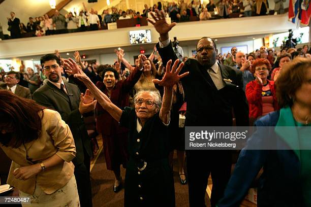 Members of The Bay Ridge Christian Center Pentecostal Church pray during a twohour English language church service on April 10 2005 in Brooklyn New...