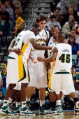 Members of the Baylor Bears react late in the game against Old Dominion University Monarchs during the second round of the 2010 NCAA men's basketball...