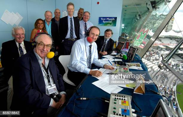 Members of the BBC Radio Test Match Special team in the commentary box at Lord's Cricket Ground in London during the 1st npower test match between...