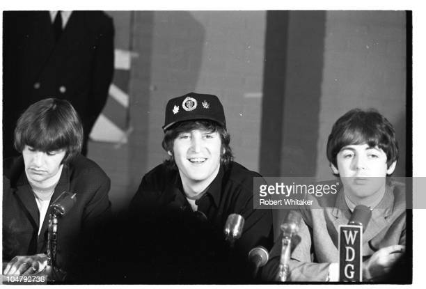 Members of the Beatles at a press conference in Minneapolis Minnesota 21st August 1965 Left to right Ringo Starr John Lennon and Paul McCartney