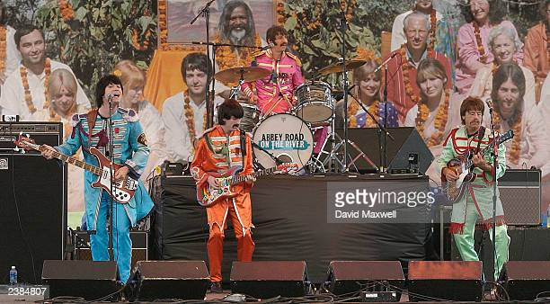Members of the Beatles tribute band British Export Paul Lynch as Paul Gavin Pring as George Jim Martin as Ringo and John Graham as John perform their...