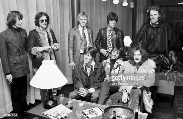 Members of The Bee Gees and Cream meet each other in a Copenhagen Hotel lobby in February 1968 LR Robin Gibb Jack Bruce Colin Peterson Vince Melouney...