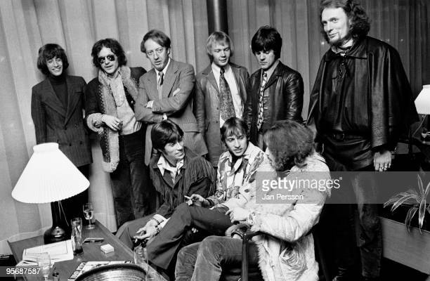Members of The Bee Gees and Cream meet each other in a Copenhagen Hotel lobby in February 1968 LR Robin Gibb Jack Bruce Robert Stigwood Colin...