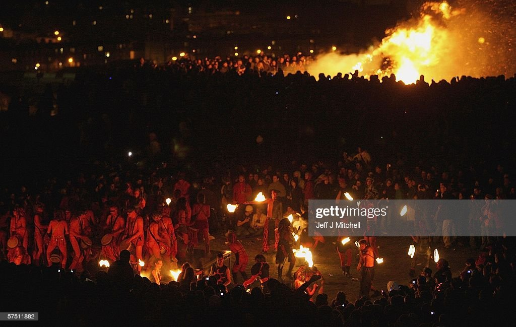 Members of the Beltane Society are seen celebrating the coming of Summer on Calton Hill on April 30, 2006 in Edinburgh, Scotland. The procession is a revival of the ancient Celtic festival of Beltane around three hundred voluntary performers celebrate the ending of winter fire revelry and drumming around the hill.