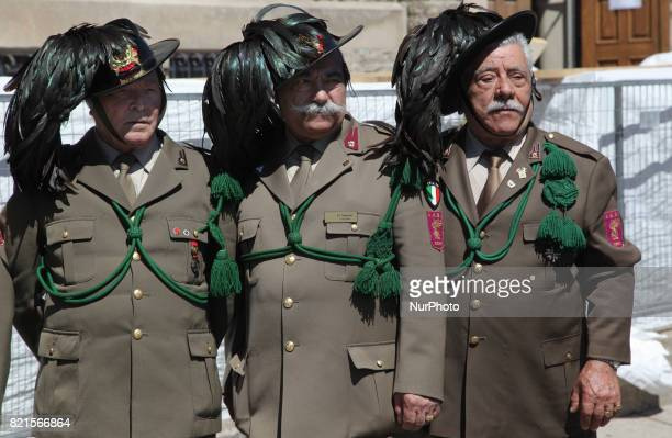 Members of the Bersaglieri during the Good Friday procession in Little Italy in Toronto Ontario Canada on April 14 2017 The Bersaglieri can be...