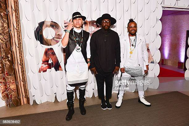 Members of The Black Eyed Peas Taboo william and apldeap attend the 'Our America' Party hosted by Henry Munoz of the Democratic National Committee...