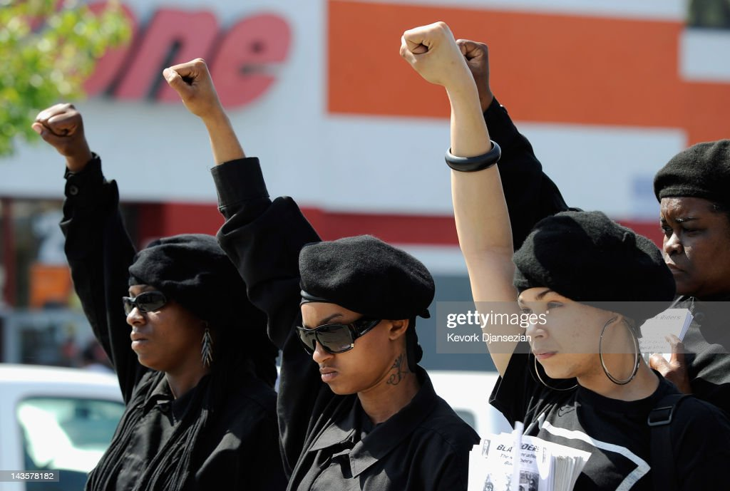 Members of the Black Riders, a new generation of the Black Panther Party, participate in a rally at the intersection of Florence and Normandie Avenues in South Los Angeles on April 29, 2012 in Los Angeles, California. This intersection was site of where truck driver Reginald Denny was nearly beaten to death by a group of black assailants on April 29, 1992. It's been 20 years since the verdict was handed down in the Rodney King case that sparked the infamous Los Angeles riots.