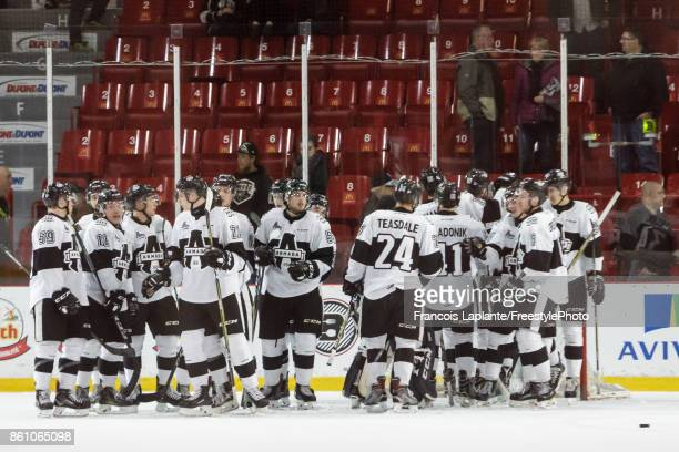 Members of the BlainvilleBoisbriand Armada celebrate their win over the Gatineau Olympiques on October 13 2017 at Robert Guertin Arena in Gatineau...