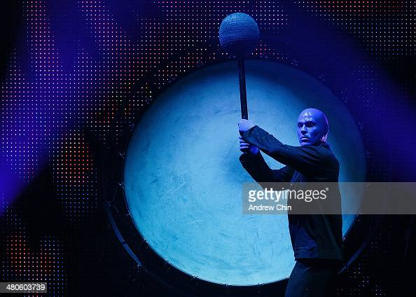 Members of the Blue Man Group kick off their North American tour at Queen Elizabeth Theatre on March 25 2014 in Vancouver Canada