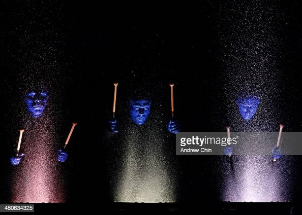 Members of the Blue Man Group kicks off their North American tour at Queen Elizabeth Theatre on March 25 2014 in Vancouver Canada