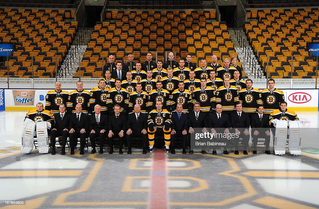 Members of the Boston Bruins pose for an official team photo at the TD Garden on April 25, 2013 in Boston, Massachusetts.
