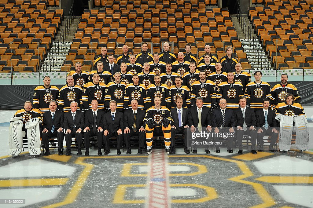 Members of the Boston Bruins pose for the official 2011-2012 team photograph at the TD Garden on March 30, 2012 in Boston, Massachusetts.