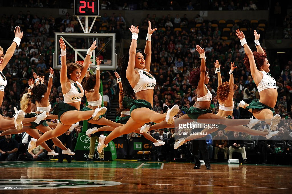 Members of the Boston Celtics dance team perform for the crowd against the Los Angeles Lakers on January 17, 2014 at the TD Garden in Boston, Massachusetts.