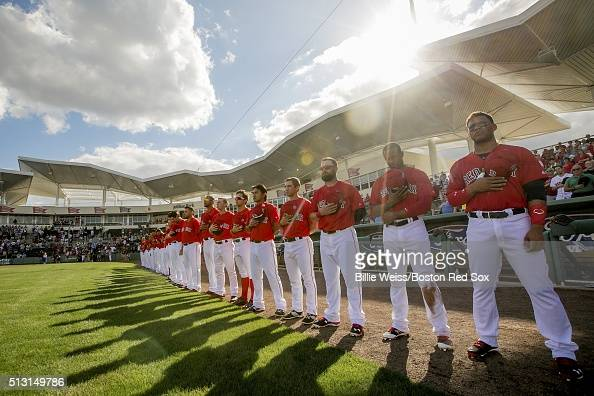 Members of the Boston Red Sox are introduced in an exhibition game against the Northeastern University Huskies on February 29 2016 at jetBlue Park in...