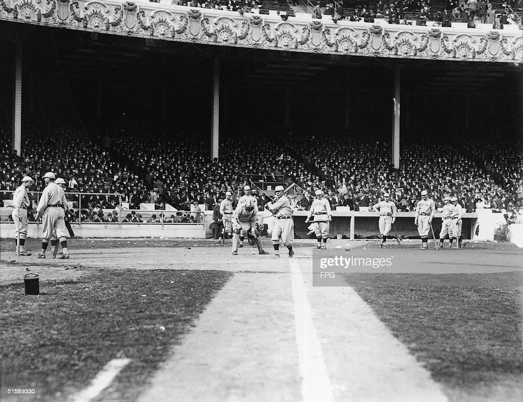 Members of the Boston Red Sox line up for batting practice before one of the World Series games against the New York Giants circa October 1912 at the...