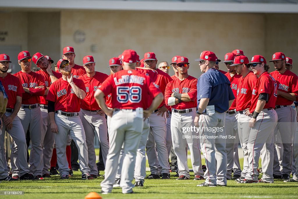 Members of the Boston Red Sox meet during a team workout on March 1, 2016 at Fenway South in Fort Myers, Florida .