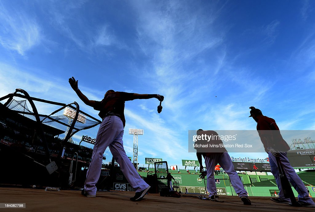 Members of the Boston Red Sox work out in preparation for the American League Championship Series against the Detroit Tigers on October 11, 2013 at Fenway Park in Boston, Masschusetts.