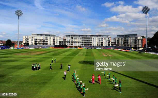Members of the both sides make their way out for the start during the Kia Super League 2017 match between Western Storm and Lancashire Thunder at the...
