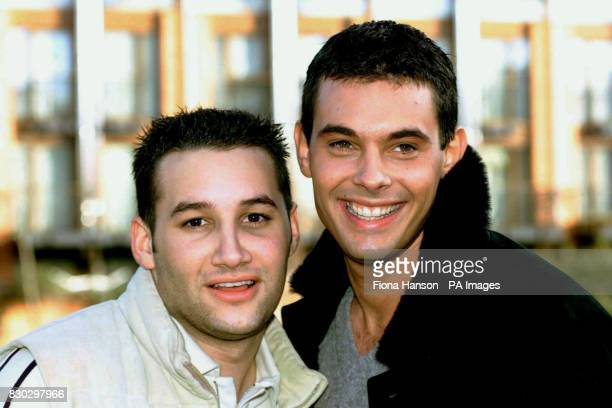 Members of the boy band Another Level Dane Bowers and Mark Baron during a photocall where Jack Russell terrier Meg was chosen as the new mascot for...