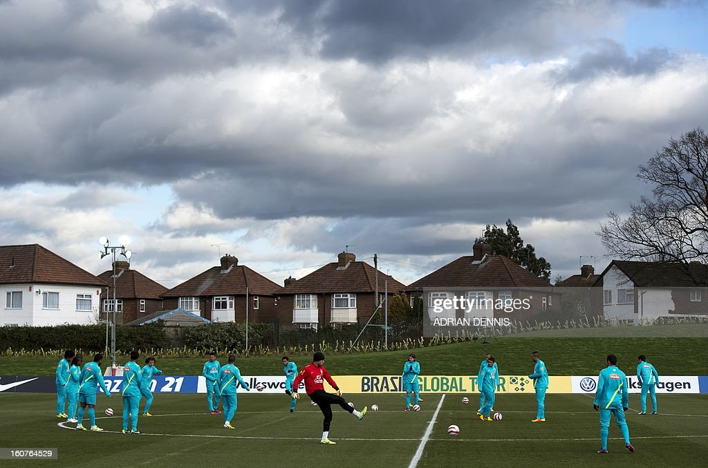 Members of the Brazilian national football team participate in a training session at The Hive, Barnet FC's training ground in Edgware, London on February 5, 2013. Brazil are set to play England in an international friendly at London's Wembley Stadium on February 6, 2013 .
