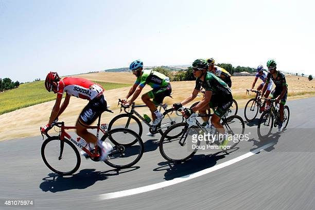 Members of the breakaway group Thomas de Gendt of Belgium and LottoSoudal Nathan Haas of Australia and Team CannondaleGarmin Cyril Gautier of France...