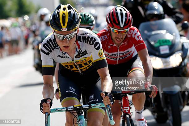 Members of the breakaway group Wilco Kelderman of the Netherlands and team Lotto NLJumbo and Thomas de Gendt of Belgium and LottoSoudal ride during...