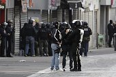 Members of the BRI a special unit of the French police are at work in the northern Paris suburb of SaintDenis city center on November 18 as French...