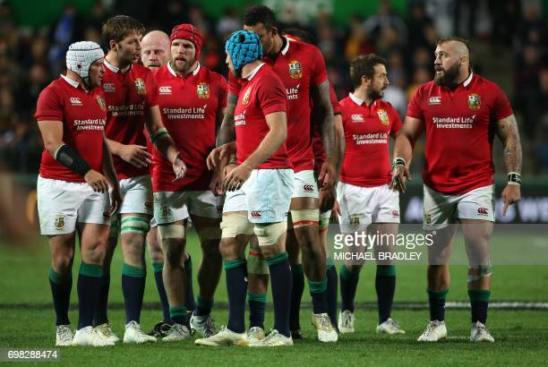 Members of the British and Irish Lions are pictured during the rugby union match between the British and Irish Lions and the Waikato Chiefs at FMG...