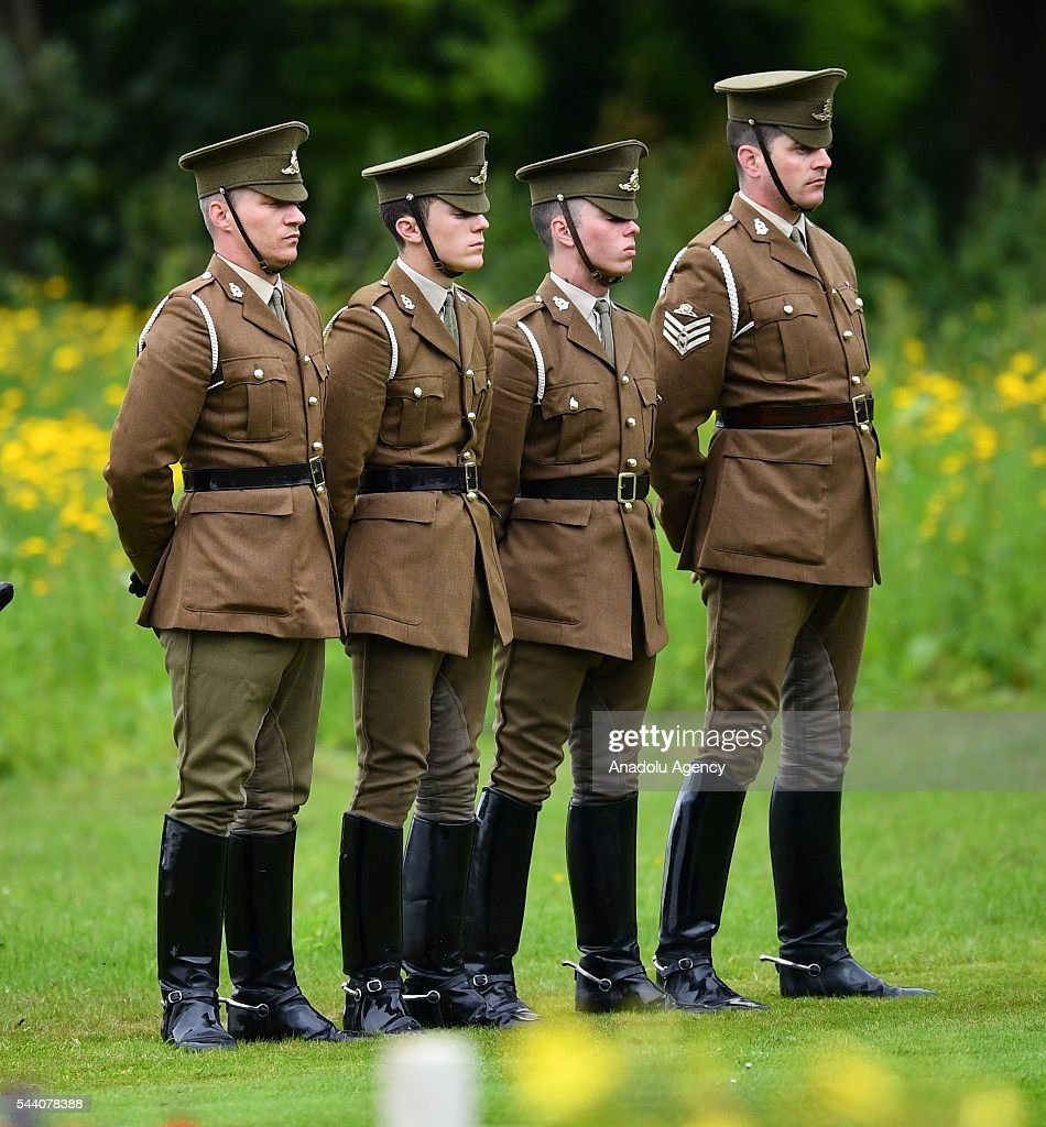 Members of the British Army stand guard during the ceremony to mark the centenary of the Battle of the Somme at the Thiepval monument, in Thiepval, near Amiens, northern France on July 01, 2016. The Battle of the Somme remains as one of the most deadly battles of the First World War.