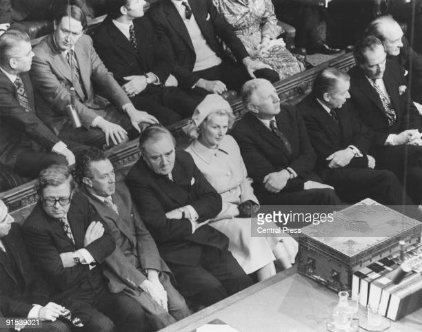 Members of the British Conservative Party Shadow Cabinet on the opposition front bench in the House of Commons Westminster London during the State...