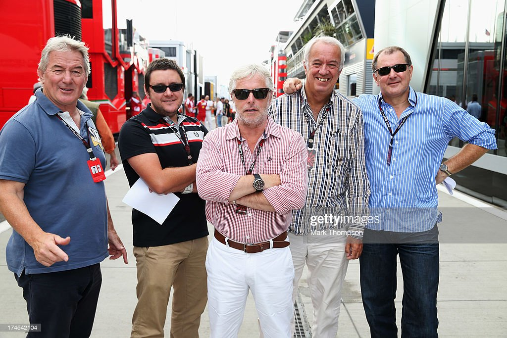 Members of the British F1 press pose for a photograph following qualifying for the Hungarian Formula One Grand Prix at Hungaroring on July 27, 2013 in Budapest, Hungary.