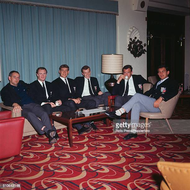 Members of the British Lions rugby union team pictured together in a hotel reception area in Port Elizabeth South Africa during the British Lions...