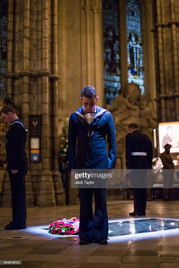 Members of the British Navy stand at the Grave of the Unknown Warrior during a vigil to commemorate the centenary of the Battle of the Somme at Westminster Abbey on July 1, 2016 in London, England. The overnight vigil is being held to remember those who died in the Battle of the Somme which began 100 years ago on July 1st 1916. Armies of British and French soldiers fought against the German Empire and over one million lives were lost. The Grave of the Unknown Warrior contains the body of an unidentified British solider from the First World War buried in French soil and covered with a Belgian marble slab.