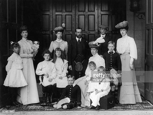 Members of the British royal family at Balmoral circa 1905 Standing left to right Princess Mary Queen Alexandra Princess Louise Duchess Of Fife...