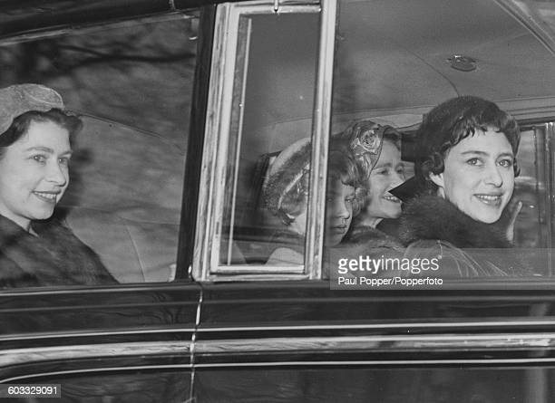 Members of the British Royal Family Queen Elizabeth II Princess Anne Queen Elizabeth the Queen Mother and Princess Margaret drive back to Buckingham...