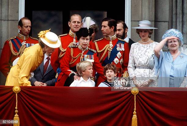 Members Of The British Royal Family Watching The Flypast From The Balcony At Buckingham Palace During The Trooping The Colour Ceremony