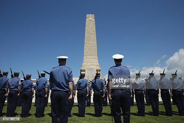 Members of the British Royal Navy stand at attention during rehearsals for ceremonies at the Helles Memorial which commemorates Commonwealth soldiers...