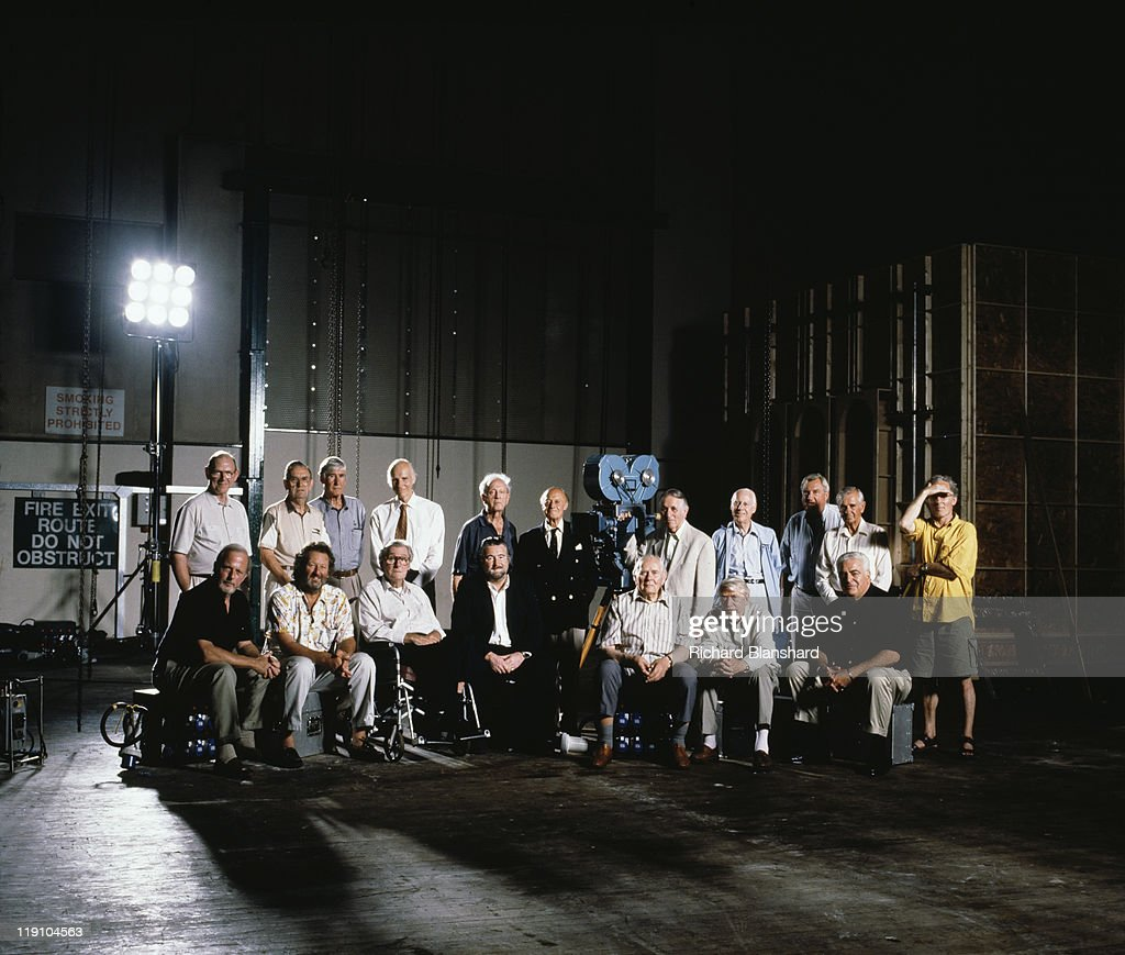 Members of the British Society of Cinematographers pose in a film studio, July 1999. Among them are John de Borman, Douglas Slocombe, <a gi-track='captionPersonalityLinkClicked' href=/galleries/search?phrase=Jack+Cardiff&family=editorial&specificpeople=892251 ng-click='$event.stopPropagation()'>Jack Cardiff</a> and <a gi-track='captionPersonalityLinkClicked' href=/galleries/search?phrase=Freddie+Francis&family=editorial&specificpeople=1748886 ng-click='$event.stopPropagation()'>Freddie Francis</a>, BSC.
