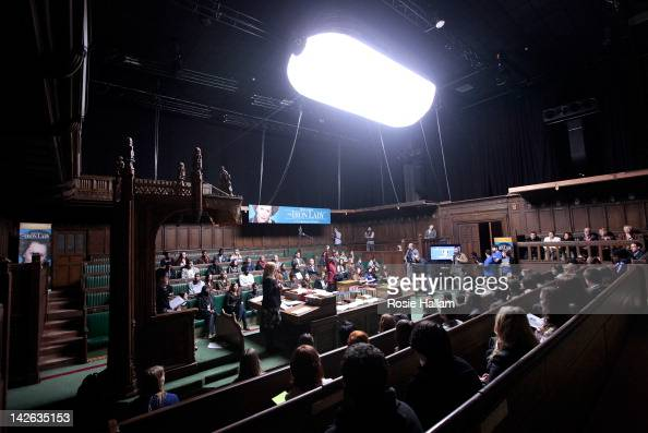 Members of the British Youth Council and Youth Parliament hold a live debate on the film set of 'The Iron Lady' at Wimbledon Studios to debate the...