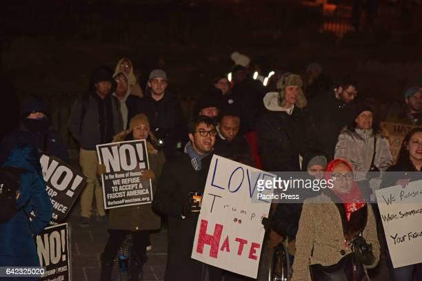 Members of the Brooklyn Law School sponsored a rally on the steps of Borough Hall against Trump administration's attempts to ban immigration from...