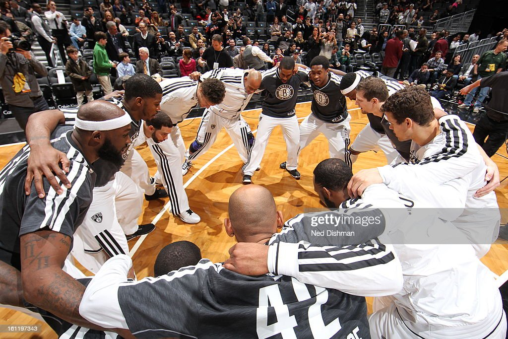 Members of the Brooklyn Nets get ready for the game against the Toronto Raptors at the Barclays Center on January 15, 2013 in the Brooklyn borough of New York City in New York City.