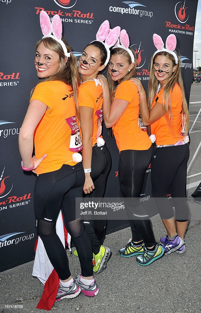 Members of the Brooks Chilean running team arrive the Zappos.com Rock 'n' Roll Las Vegas Marathon and Half-Marathon on December 2, 2012 in Las Vegas, Nevada.
